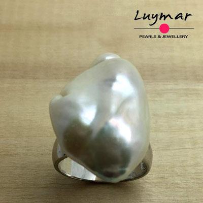 S-30  Sortija plata perlas   Luymar