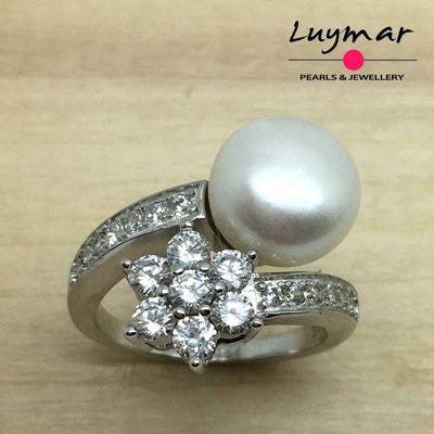 S35237 Sortija plata perlas   Luymar