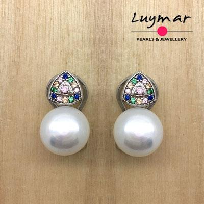 AB10026   Pendientes plata perlas omega  Luymar