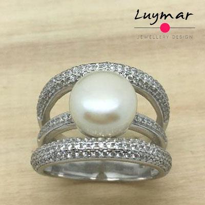 S35060 Sortija plata perlas  Luymar