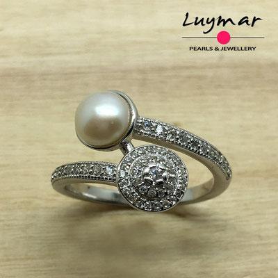 S35131 Sortija plata perlas   Luymar