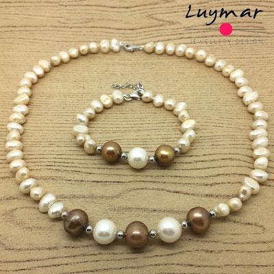 SET-25 collar pulsera perlas luymar