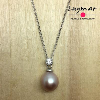 COL-12 colgante plata perlas   Luymar