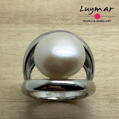 S35235  Sortija plata perlas   Luymar