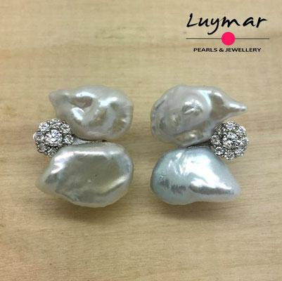 A35141 Pendientes con perlas cultivadas keshi Luymar