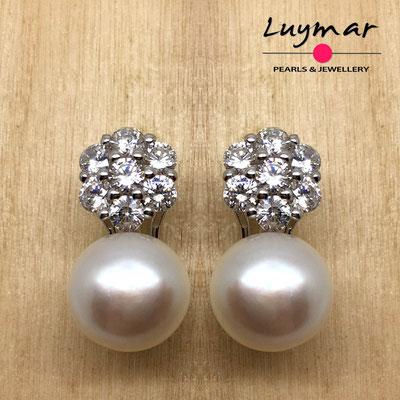 AB030   Pendientes plata perlas omega  Luymar
