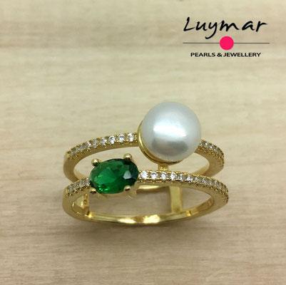 S35080  Sortija plata perlas   Luymar