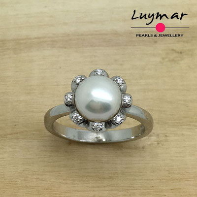 S35125  Sortija plata perlas   Luymar