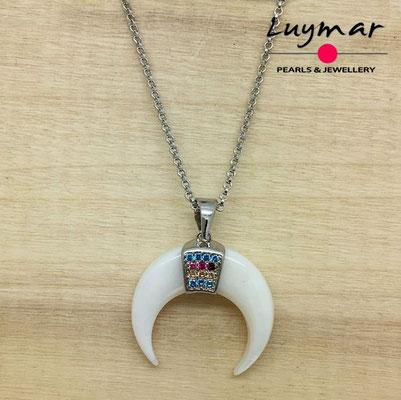 CB009   colgante plata cuerno nacar   Luymar