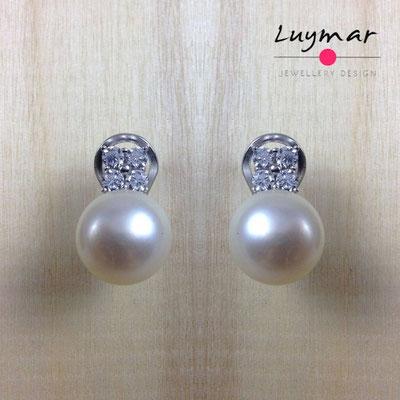 A24202 Pendientes Omega plata perlas Luymar