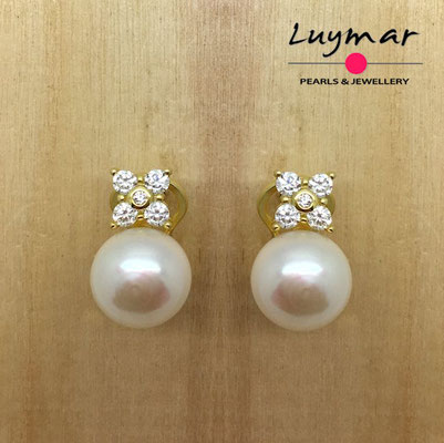 AB10067   Pendientes plata perlas omega  Luymar