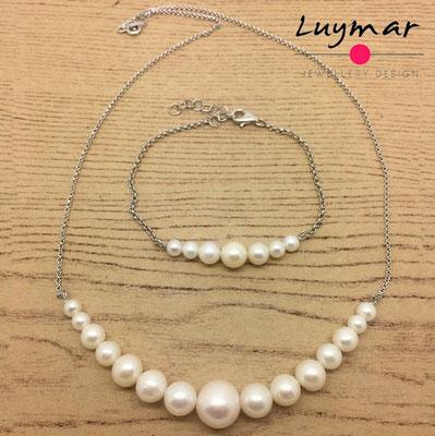 SET-35 collar pulsera perlas plata luymar