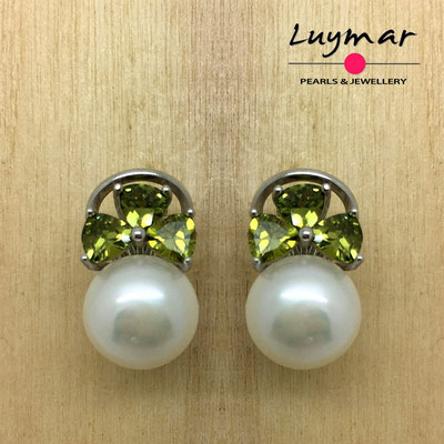 AB177 Pendientes plata perlas omega  Luymar