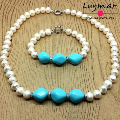SET-45 Collar turquesas y perlas