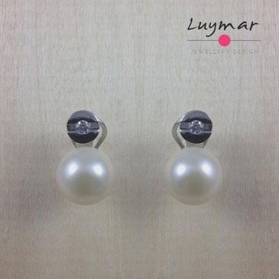 A32253 Pendientes Omega plata perlas Luymar