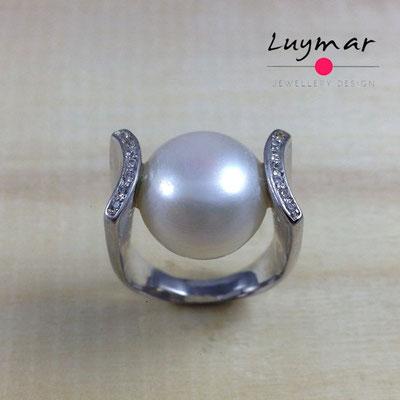 S23312 Sortija plata perlas Luymar