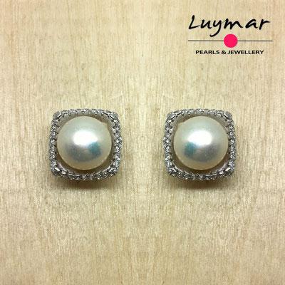 A35094 Pendientes plata perlas presión  Luymar