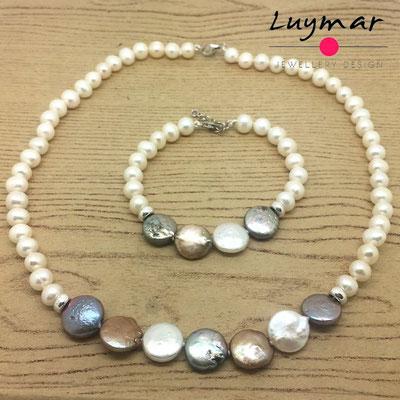 SET-23 collar pulsera perlas luymar