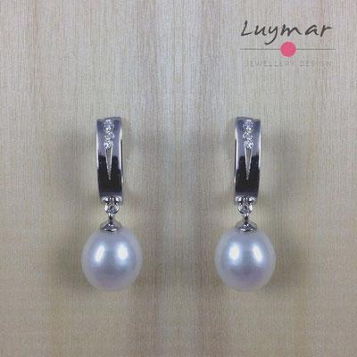 A25799 Pendientes plata perlas Luymar