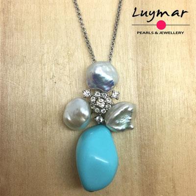 C35157 Colgante turquesa y perlas keshi Luymar