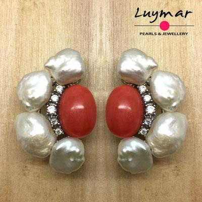 PP-85 Pendientes coral y perlas keshi Luymar