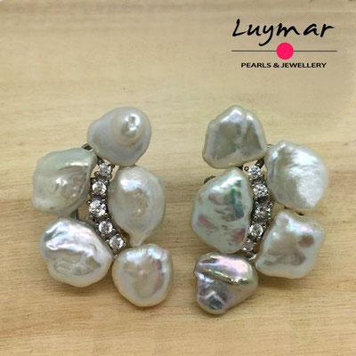 A35148 Pendientes con perlas cultivadas keshi Luymar