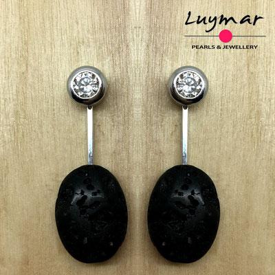 PP-18 Pendientes plata y lava Luymar