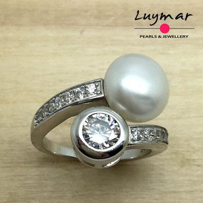 S35239  Sortija plata perlas   Luymar