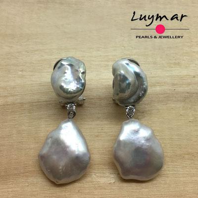 A35147 Pendientes con perlas cultivadas keshi Luymar