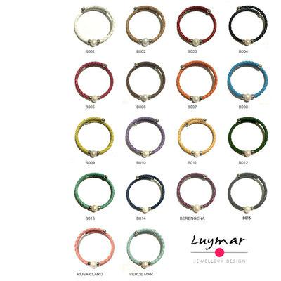 PUL-3 pulseras cuero y perla Luymar
