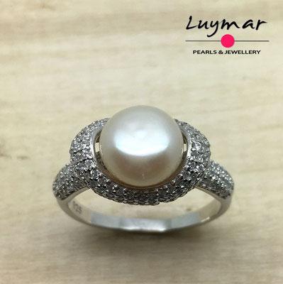 S35076   Sortija plata con perlas Luymar