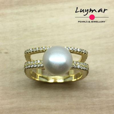 S35075   Sortija plata con perlas Luymar