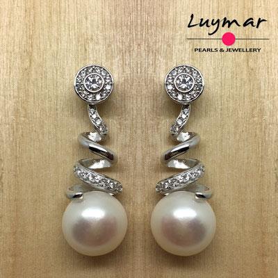 A35084  Pendientes plata perlas novia  Luymar