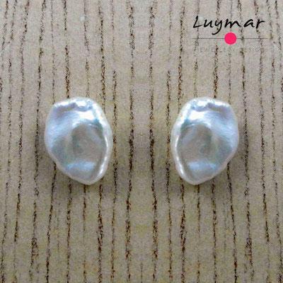 PP-12 KESHI Pendientes perlas presión Luymar