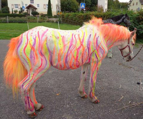 weißes Pferd in neonorange neonpink- Feuer