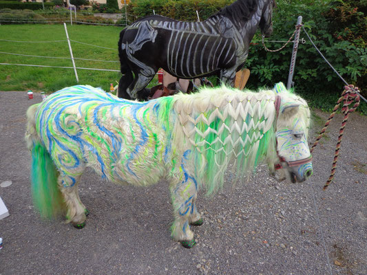 weißes Pony in neongrün und neonblau - Wasser