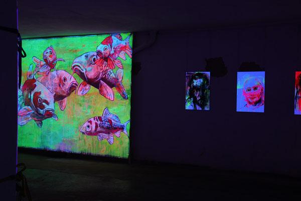 Von Fischen und Menschen, 1,5x2,5 m Malerei Kois - Sven Büngener