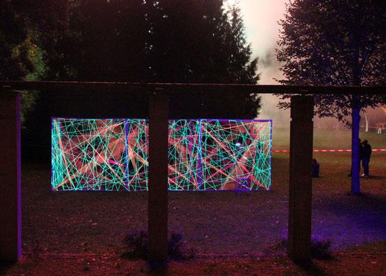 3D-Grafik Kunstschule Kraichgau Neonprojekt 2017 unter Feuerwerk