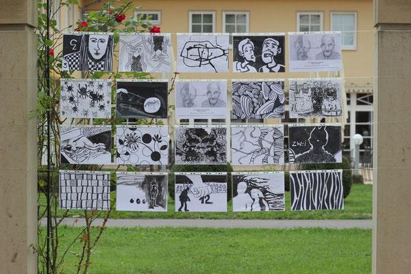 A4 Arbeiten in s/w der TeilnehmerInnen der Kunstschule Kraichgau