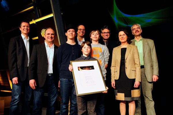 Frau Salvamoser, Freiburg's Bürgermeister Salomon und die Delegation aus Riegel