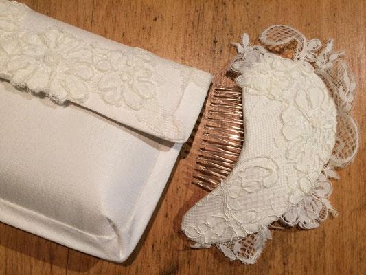 Headpiece aus Spitze und Seid mit passender Tasche zum Brautkleid