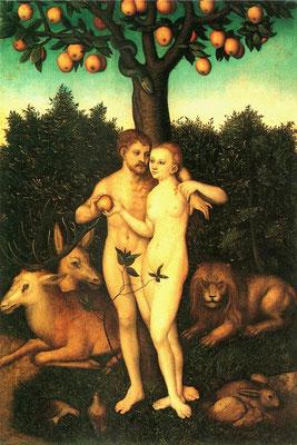 """Bedeutend sind unter anderem die Vielzahl der Werke von Lucas Cranach d. Ä. , wie zum Beispiel """"Der Sündenfall"""""""