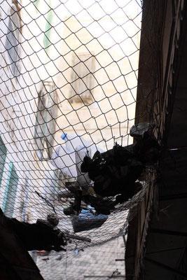 Da das Erdgeschoss von palästinensischen Ladenbetreibern genutzt wird, werfen die jüdischen Siedler, die in den Obergeschossen leben, ihren Müll in die Gassen, sodass die Palästinenser gezwungen waren, Drähte zu spannen, um dem Müllbewurf zu entgehen !