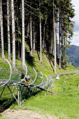 Abwärts gehts mit dem Alpine Coaster mit 2,6 km Länge und 400 m Höhenunterschied