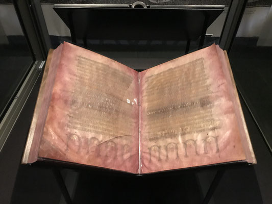 Es ist die erste germanische Schriftsprache überhaupt! Der Codex Argenteus (silberne Schrift auf Purpur) ist eine Prachtabschrift der Übersetzung und datiert  aus dem 5./6. Jahrhundert.