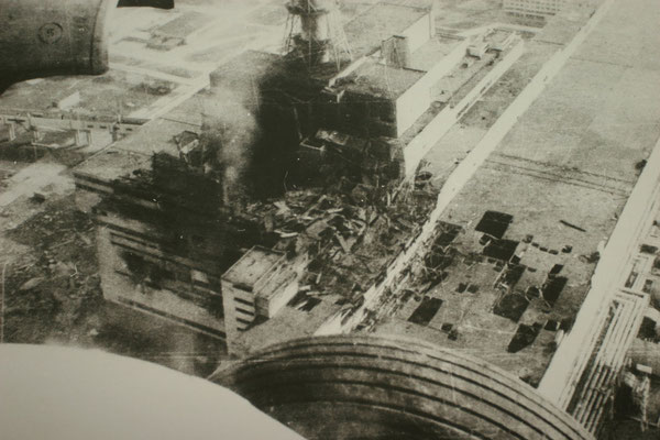 Luftaufnahme nach der Katastrophe am 26.04.1986 Quelle: Tschernobyl-Museum Kiew