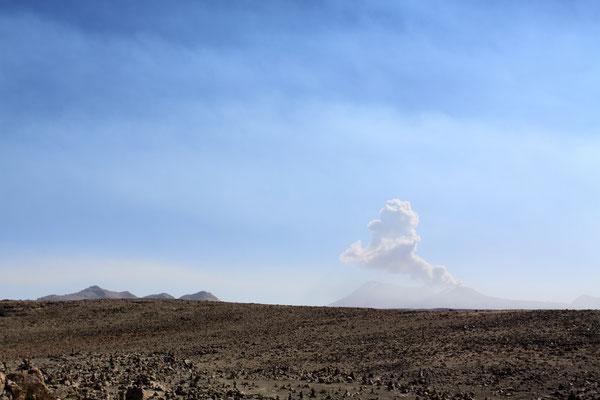 Mirador de los Volcanos. Von hier bietet sich ein fantastischer Blick auf die umliegenden Vulkane. Beeindruckend ist vor allem der Sabancaya, der mit einer Rauchfahne aufwartet.