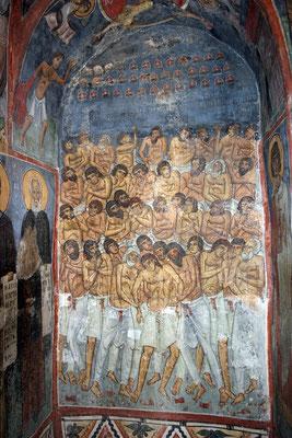 Darstellung der 40 Märtyrer. Man sieht 39 spärlich bekleidete, frierende und aus zahlreichen Wunden blutende Männer auf dem Eis eines zugeforenen Sees