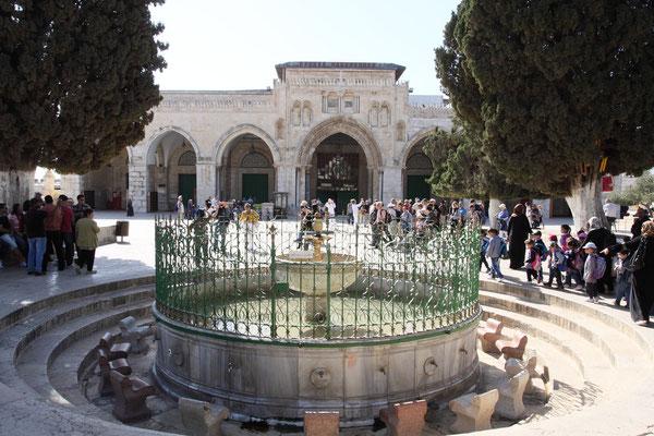 Der Tempelplatz ist das bedeutenste islamische Heiligtum nach Mekka und Medina.  Kurz nach unserem Besuch sind Dutzende fanatische Siedler unter Polizeischutz hier eingedrungen und haben dort jüdische Rituale durchgeführt und Muslime provoziert.
