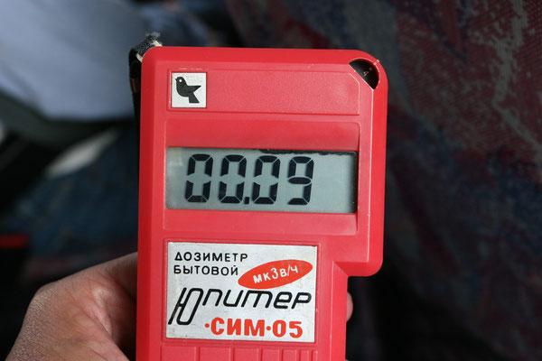 noch keine erhöhten Strahlenwerte auf dem Geigerzähler bei einem Wert von 0,31 mR/h
